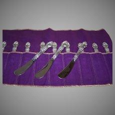 Set/4 Wallace Sterling Silver Violet Butter Knives