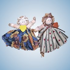 Pair Mini Country Girl Spool Doll Decorations