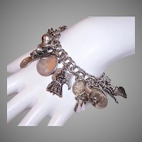 Mexican Theme Sterling Silver Charm Bracelet with 16 Charms