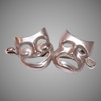 BEAU Sterling Silver Comedy Tragedy Masks Pin
