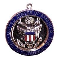 United States Bicentennial Sterling Silver Enamel Charm