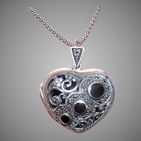 Sterling Silver Marcasite Enamel Heart Locket Pendant