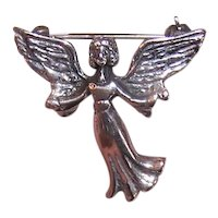 Sterling Silver Pin Brooch - Guardian Angel | Made in Mexico | Mexican Jewelry