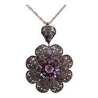 Art Deco Filigree Metal Purple Rhinestone Costume Pendant