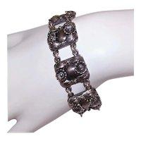 NE From Denmark Sterling Silver Floral Link Bracelet | Designer Signed Scandinavian Link Bracelet