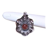 Vintage 800 Silver Carnelian Charm Pendant