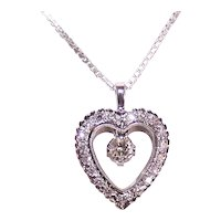 Estate 14K Gold Diamond Heart Pendant with Floating Solitaire