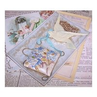 Edwardian Happy New Year Postcard Post Card with Celluloid Dove of Peace & Fabric Hydrangea Florals | A Bright New Year