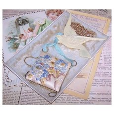 Edwardian Happy New Year Postcard Post Card with Celluloid Dove of Peace & Fabric Hydrangea Florals   A Bright New Year