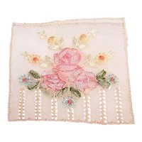 Art Deco French Ribbonwork Pink Roses Applique