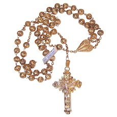 Vintage French 800 Silver Vermeil Filigree Rosary