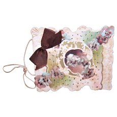 Antique Edwardian Greeting Card Booklet Cover | Purple Pansies