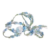 """20"""" Antique French Ribbonwork Blue Ombre Floral 