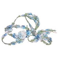 Antique French Ribbonwork Blue Ombre Floral | Vintage French Ribbon Work Spray of Flowers