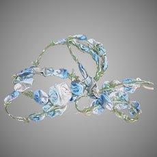 Art Deco French Ribbonwork Spray Blue Florals