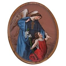 Antique Victorian Eglomise Panel - Guardian Angel with Child