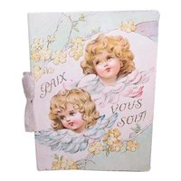 Antique French Religious Booklet for Christmas or First Communion - Angels in Pastels Cover - Peace Be With You