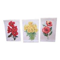3 Vintage Tobacco Silks - Red Poppies, Begonia, California Poppy