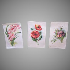 3 Vintage Tobacco Silks - Red Poppies, Morning Glories, Orchids