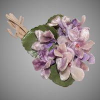Vintage Made in Japan Velvet Violets Corsage Hat Accessory