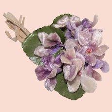 Vintage Made in Japan Velvet Violets Corsage Hat Accessory