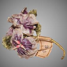 Art Nouveau French Ribbonwork Spray of Purple Ribbon Florals