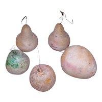 5 Antique Pastel Color Spun Cotton Christmas Ornaments Fruit Decoration
