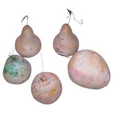 5 Antique Spun Cotton Christmas Ornaments Fruit