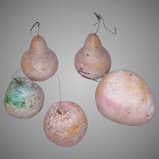 5 Antique Spun Cotton Christmas Fruit Ornaments