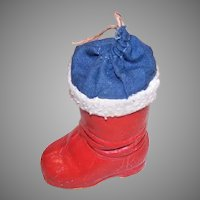German Paper Mache Christmas Boot Candy Container
