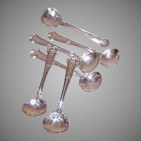 6 Wallace Sterling Silver Master Salt Spoons Saxon Pattern