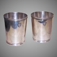 Pair Civil War Era Baldwin & Co Coin Silver Mint Julep Cups
