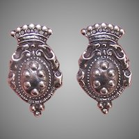 Vintage Sterling Silver Earrings Crown Top