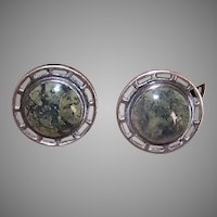 Wordley Allsop & Bliss Art Nouveau Sterling Silver Moss Agate Cufflinks