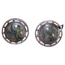 Wordley Allsop & Bliss Art Nouveau Sterling Silver Moss Agate Cufflinks