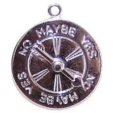 1960s MONET Silver Tone Metal Charm - Yes No Maybe I Love You Spinner