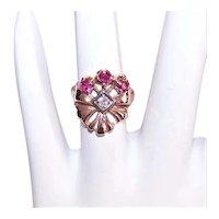 Art Deco 14K Gold Ruby Diamond Cocktail Ring