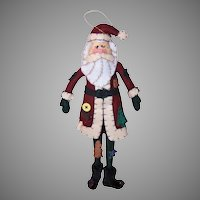 Vintage Handmade Felt Santa Claus Wall Decoration