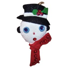 Vintage Handmade Felt Snowman Christmas Ornament