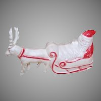 Vintage Celluloid Toy Santa Claus Sleigh with Reindeer