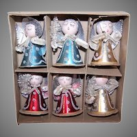 Boxed Set of 6 Made in Japan Christmas Ornaments Angels