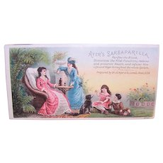 Ayer's Sarsaparilla - 2 Ladies & Children - Victorian Trade Card