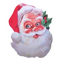 Vintage Cardboard Santa Claus Wall Decoration - Possibly by Dennison