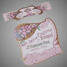 Set/2 French Art Nouveau Eau de Cologne Labels