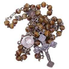 French Silverplate Glass Bead Rosary