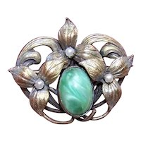 Antique Edwardian Gold Filled GF Green Glass Cab Scatter Pin