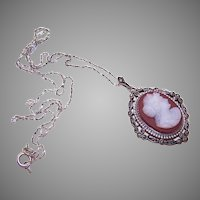 Vintage Sterling Silver Sardonyx Cameo Pendant Necklace