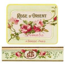 French Art Nouveau Paper Cologne Label Rose D'Orient