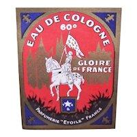 Vintage French Joan of Arc Eau de Cologne Label