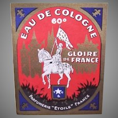 Vintage French Joan of Arc Eau de Cologne Label